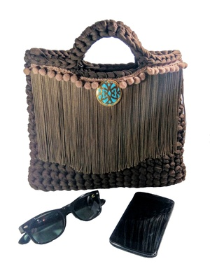 Small brown bag for woman, crochet purse for her, bohemian style