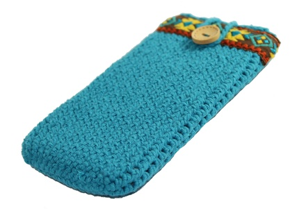 Blue phone cover for Samsung Galaxy, Boho style case for woman