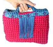 Small dark pink and blue tote handbag for boho style woman