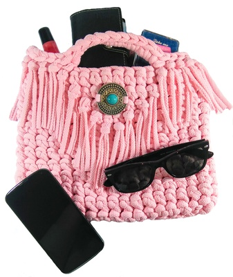 Boho purse pink bag for woman, cruelty free fringe purse boho style